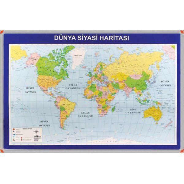 Dünya Siyasi Harita Panosu (Alüminyum Çerçeveli) 70x100 cm